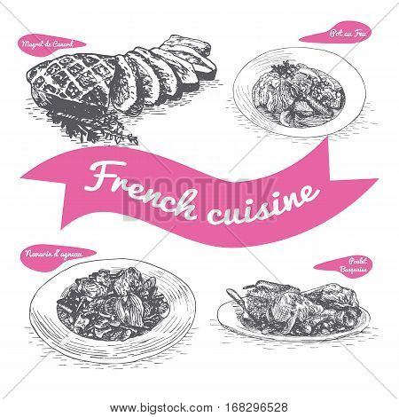 Monochrome vector illustration of French cuisine and cooking traditions
