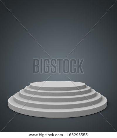 Round white podium with dark grey background. 3D rendering.