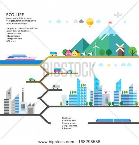 Abstract illustrations - Ecologically clean nature, the modern city and detached production. Transport. Renewable energy. Ecosystem info graphics