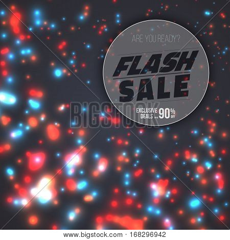 Illustration of Flash Sale Poster Template. Vector Flash Sale Banner with Bright Energy Flow Motion Energy on Background
