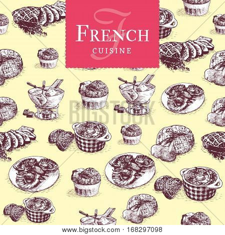 Vector colorful illustration of French cuisine. Vector illustration in seamless background