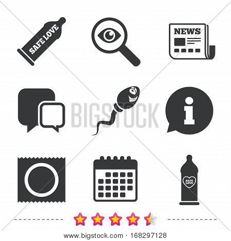 Safe sex love icons. Condom in package symbol. Sperm sign. Fertilization or insemination. Heart symbol. Newspaper, information and calendar icons. Investigate magnifier, chat symbol. Vector