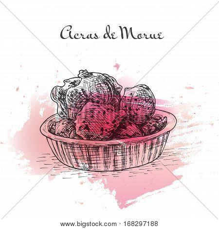 Acras de Morue watercolor effect illustration. Vector illustration of French cuisine.