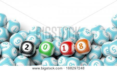 3D rendering of lucky colorful balls with 2018, isolated on white background