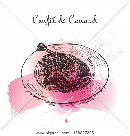 Confit de Canard watercolor effect illustration. Vector illustration of French cuisine.