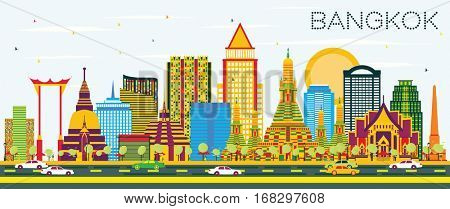 Bangkok Skyline with Color Landmarks and Blue Sky. Vector Illustration. Business Travel and Tourism Concept. Image for Presentation Banner Placard and Web Site.