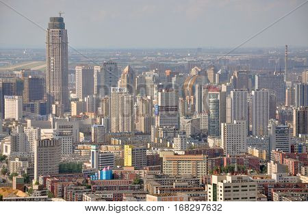 SHENYANG, CHINA - JUL. 29, 2012: Aerial view of Skyscrapers of Shenyang CBD, Liaoning Province, China. Shenyang is the largest city in Northeast China (Manchuria).