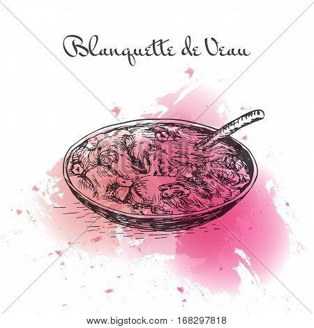 Blanquette de Veau watercolor effect illustration. Vector illustration of French cuisine.