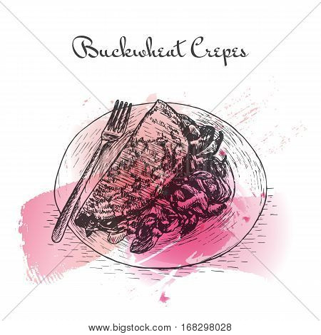 Buckwheat Crepes watercolor effect illustration. Vector illustration of French cuisine.