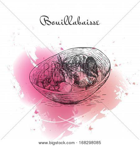 Bouillabaisse watercolor effect illustration. Vector illustration of French cuisine.