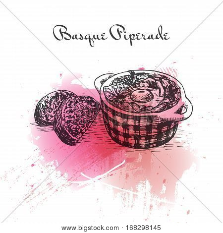 Basque Piperade watercolor effect illustration. Vector illustration of French cuisine.
