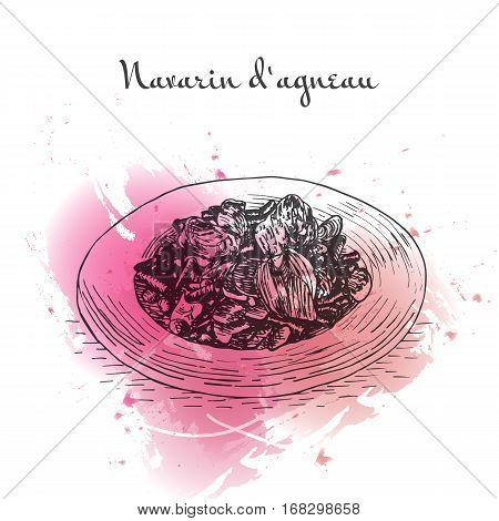 Navarin d'Agneau watercolor effect illustration. Vector illustration of French cuisine.