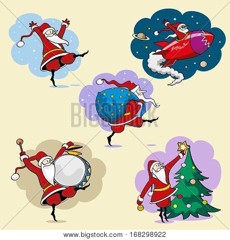 Set of 5 images. Santa Claus dancing to drum beats, flying on a rocket in space, carries a bag with gifts, decorate the Christmas tree. Images are bright, cartoon. It can be used for design of printed products for Christmas and New Year's theme. Postcards