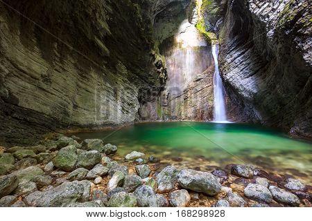 Beautiful Kozjak Waterfall Slovenia