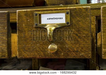 Close Up of a Sweetener Label in a Card Catalog II