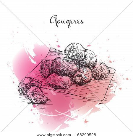 Gougeres watercolor effect illustration. Vector illustration of French cuisine.