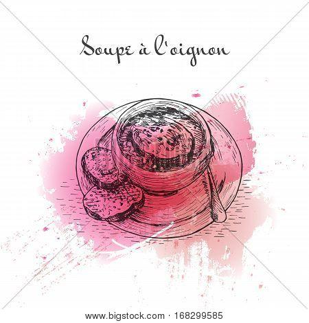 Soupe a l'Oignon watercolor effect illustration. Vector illustration of French cuisine.