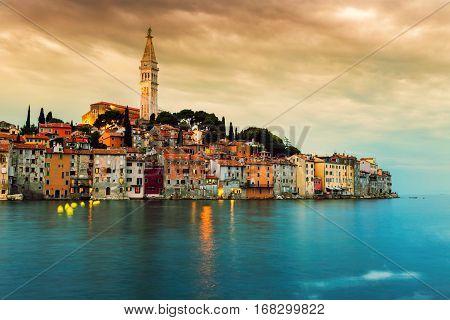 Rovinj Old Town At Night In Adriatic Sea