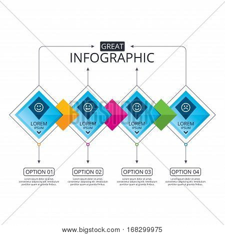 Infographic flowchart template. Business diagram with options. Smile icons. Happy, sad and wink faces symbol. Laughing lol smiley signs. Timeline steps. Vector