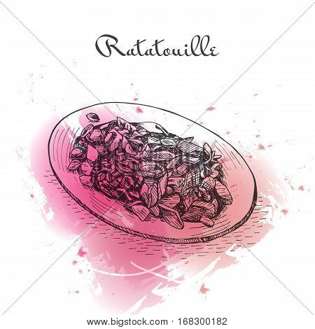 Ratatouille watercolor effect illustration. Vector illustration of French cuisine.