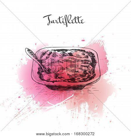 Tartiflette watercolor effect illustration. Vector illustration of French cuisine.