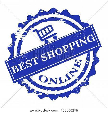 Best shopping online stamp, insignia design element