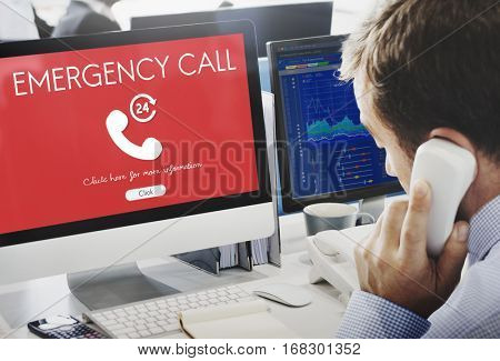 Emergency Call Urgent Accidental Hotline Paramedic Concept poster