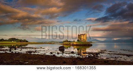 Stalker Castle in sunrise light Highlands Scotland
