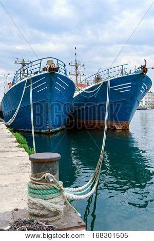 Fishing ships in the port of Pula Istria Croatia