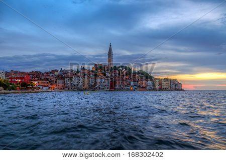 Rovinj Old Town In Adriatic  Sea Coast Of Croatia
