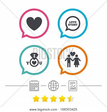 Valentine day love icons. I love you ring symbol. Couple lovers sign. Love story speech bubble. Calendar, internet globe and report linear icons. Star vote ranking. Vector