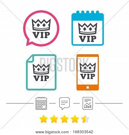 Vip sign icon. Membership symbol. Very important person. Calendar, chat speech bubble and report linear icons. Star vote ranking. Vector