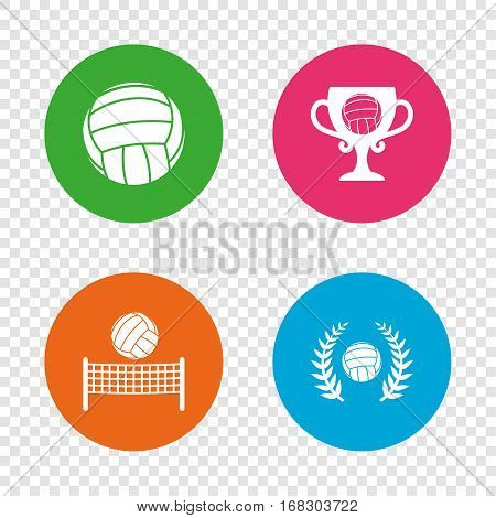 Volleyball and net icons. Winner award cup and laurel wreath symbols. Beach sport symbol. Round buttons on transparent background. Vector