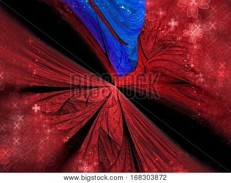 Unusual fractal background - abstract computer-generated image. Blurred petals of unreal flower or wings. Diagonal perspective. For covers, web design, posters.