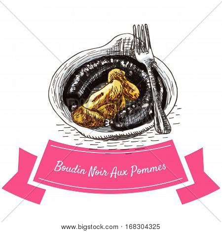 Boudin Noir Aux Pommes colorful illustration. Vector illustration of French cuisine.