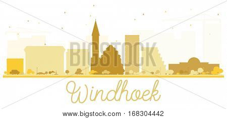 Windhoek City skyline golden silhouette. Vector illustration. Simple flat concept for tourism presentation, banner, placard or web site. Cityscape with landmarks
