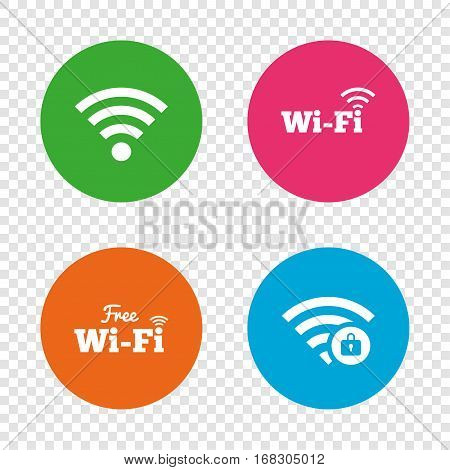 Free Wifi Wireless Network icons. Wi-fi zone locked symbols. Password protected Wi-fi sign. Round buttons on transparent background. Vector