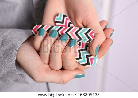 Female hands with beautiful nail art