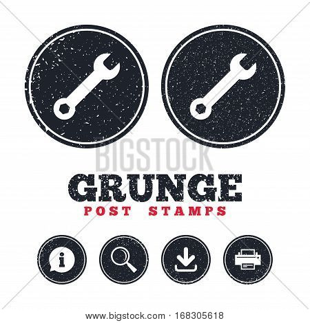 Grunge post stamps. Wrench key sign icon. Service tool symbol. Information, download and printer signs. Aged texture web buttons. Vector