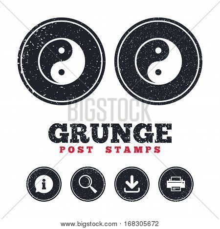 Grunge post stamps. Ying yang sign icon. Harmony and balance symbol. Information, download and printer signs. Aged texture web buttons. Vector