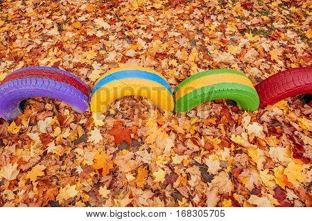 colored playground near the kindergarten golden autumn