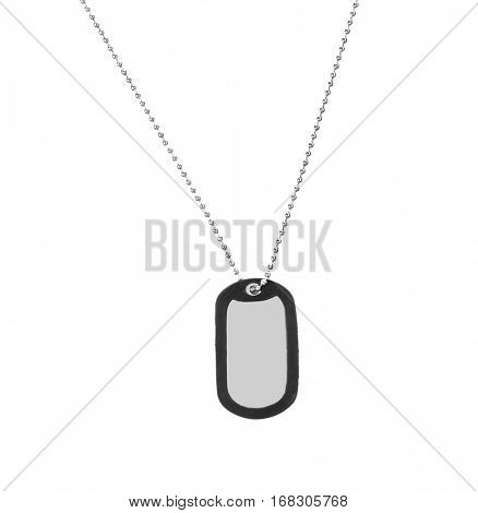 Military ID tag, isolated on white