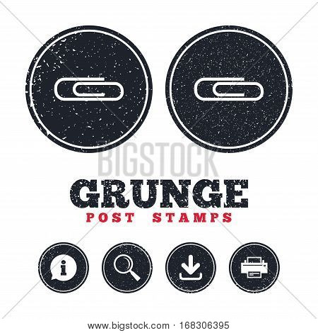 Grunge post stamps. Paper clip sign icon. Clip symbol. Information, download and printer signs. Aged texture web buttons. Vector