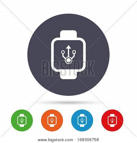 Smart watch sign icon. Wrist digital watch. USB data symbol. Round colourful buttons with flat icons. Vector