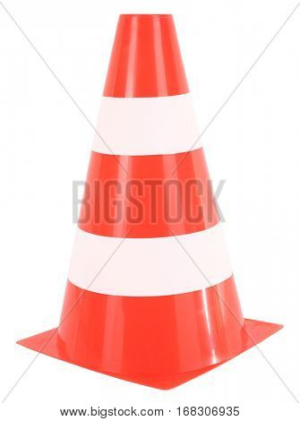 Traffic cone or orange white pylon for sport