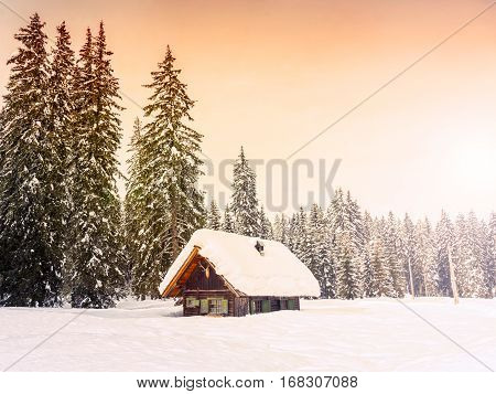 Winter holiday house in slovenia alps. Europe