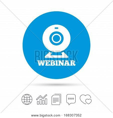 Webinar web camera sign icon. Online Web study symbol. Website e-learning navigation. Copy files, chat speech bubble and chart web icons. Vector