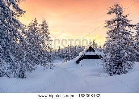 Beautiful sunset in slovenia alps . Europe