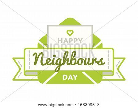 Happy Neighbors day emblem isolated vector illustration on white background. 26 may world social holiday event label, greeting card decoration graphic element