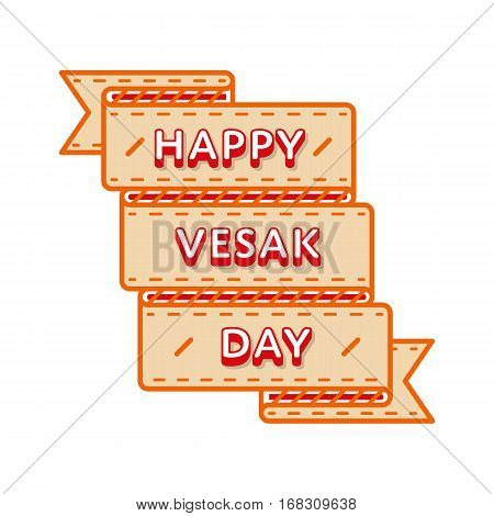 Happy Vesak day emblem isolated vector illustration on white background. 10 may world buddhistic holiday event label, greeting card decoration graphic element